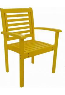 Cadeira Empilhável Com Braços Milano Colors Mestra Móveis Amarelo