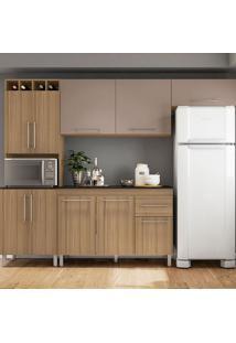 Cozinha Compacta Elisa - Com Tampo - Poliman - Carvalho / Camurca