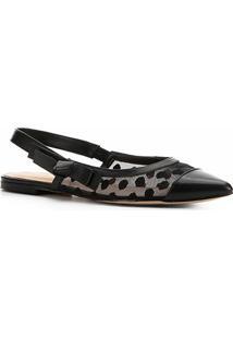 Sapatilha Couro Shoestock Slingback Bordada - Feminino-Preto