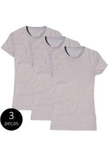 Kit Com 3 Camisetas Baby Look Básica Part.B Gola Redonda Feminina - Feminino-Cinza