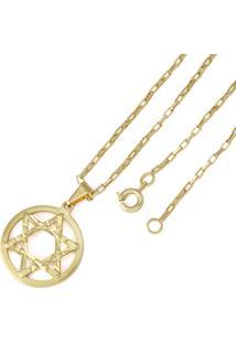Pingente Estrela De Davi Com Corrente Tudo Jóias Modelo Francesa Dourada