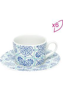 Jogo De Xícaras Para Chá Lisboa- Branco & Azul- 6Pçsbon Gourmet