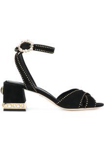 Dolce & Gabbana Sandália De Couro Com Tachas - Preto