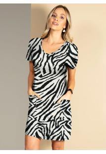 Vestido Zebra Soltinho Com Bolsos Na Frente