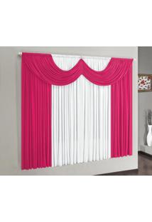 Cortina Riviera 4,00M X 2,80M Malha Gel Para Varão Simples Pink/Branco Borda Bordados Enxovais