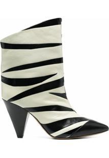 Isabel Marant Bota Com Estampa De Zebra E Salto 100Mm - Branco