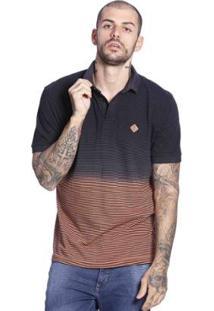 Camiseta Polo Diferenciada Manga Curta Masculina - Masculino-Marinho