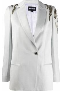 Just Cavalli Blazer Slim Com Bordado - Cinza