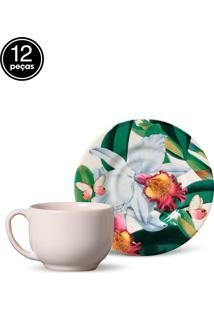 Conjunto 12Pçs Xícaras De Chá Porto Brasil Mônaco Orchids Branco