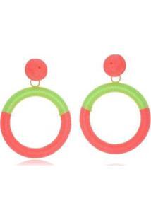 Brinco Le Diamond Fios De Seda Rosa E Verde Florescente - Feminino