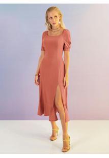 Vestido Midi Com Fenda Laranja
