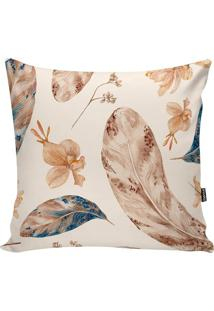 Capa De Almofada Floral- Bege Claro & Marrom- 42X42Cstm Home
