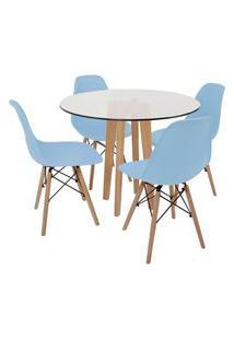 Conjunto Mesa De Jantar Em Vidro 90Cm Com Base Vértice + 4 Cadeiras Eiffel - Azul Claro