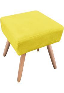 Puff Decorativo Ibiza Quadrado Suede Amarelo D'Rossi
