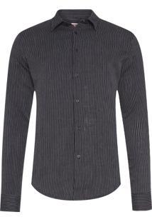 Camisa Masculina Gauze Stripes - Preto