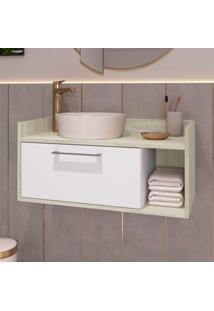 Gabinete Para Banheiro 1 Porta Brito Estilare Móveis Branco/Madeirado