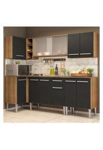 Cozinha Completa De Canto Madesa Emilly Point Com Balcão E Armário Vidro Miniboreal Rustic/Preto Cor:Rustic/Preto