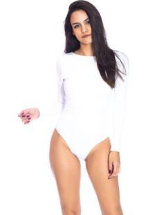 Body Moda Vicio Decote Costas Manga Longa Branco