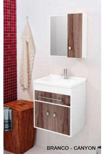 Gabinete Para Banheiro Kit Vegas 50Cm - Balcão + Espelheira + Marmorite - Branco Castaine