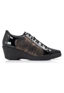 Sapato Anabela Médio Preto/Ouro
