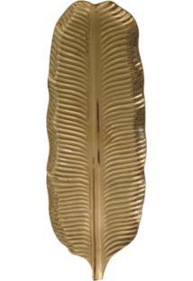 Bandeja Cerâmica Folha Dourada