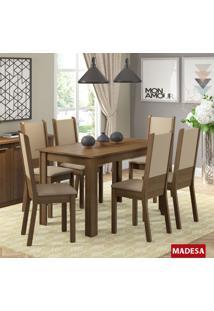 Sala De Jantar Madesa Tábata Mesa De Madeira E 6 Cadeiras - Rustic/ Crema/ Pérola