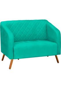 Sofá Retrô Namoradeira Silmara Suede Verde Tiffany - D'Rossi
