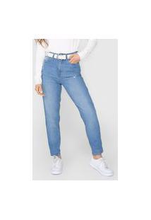 Calça Jeans Calvin Klein Jeans Mom Destroyed Azul