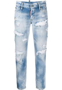 Dsquared2 Calça Jeans Cropped Destroyed - Azul