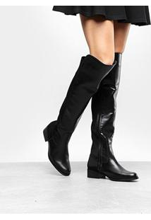 Bota Over The Knee Via Uno Flat Feminina - Feminino-Preto