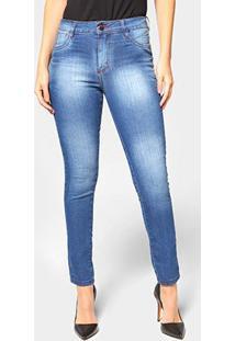 Calça Jeans Skinny Ecxo Estonada Cintura Média Feminina - Feminino