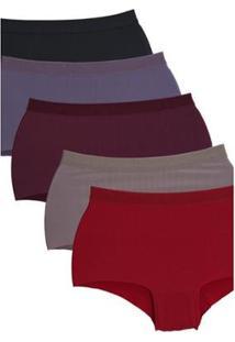 Kit Com 5 Calcinhas Fantástica Boxer Sem Costura Com Elástico Na Cintura Feminino - Feminino-Preto+Vermelho