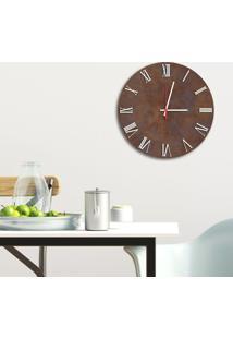 Relógio De Parede Decorativo Premium Corten Com Números Romanos Em Relevo Branco Médio
