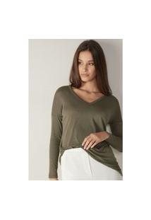 Blusa Oversize Em Modal E Cashmere Ultralight - Verde P
