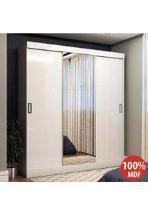 Guarda-Roupa Casal 3 Portas De Correr 100% Mdf Emily Plus Com Espelho 27199 Branco - Pnr Móveis