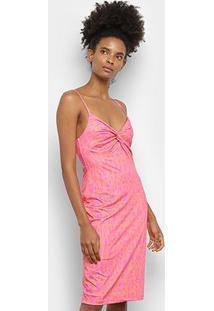 Vestido Tubinho Lança Perfume Folhagem - Feminino-Rosa