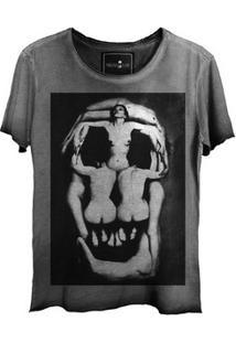 Camiseta Estonada Gola Canoa Skull Corps Corte A Fio