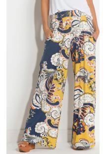 Calça Pantalona Arabescos Quintess Cintura Média
