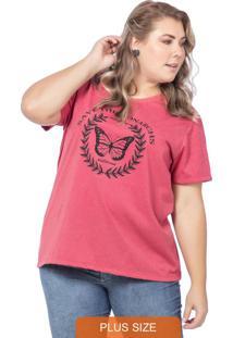T-Shirt Feminina Estampa De Borboleta Vermelho