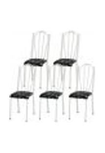 Kit 05 Cadeiras Tubular Branca 021 Assento Preto Florido