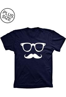 Camiseta Lu Geek Plus Size Mustache Azul Marinho