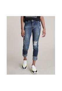 Calça Jeans Feminina Skinny Cintura Alta Destroyed Com Barra Dobrada Azul Escuro