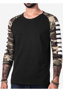 Camiseta Militar Manga Estampada 100724