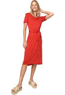Vestido Cantão Midi Amarração Vermelho