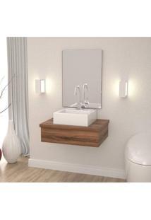 Conjunto Para Banheiro Gabinete 60Cm Cuba Q35 E Espelheira 601W Metrópole Compace Nogal