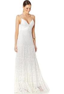 Vestido Longo Detalhe Botões Lala Dubi - Feminino-Branco+Areia