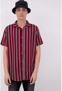 Camisa Manga Curta Com Listras Verticais