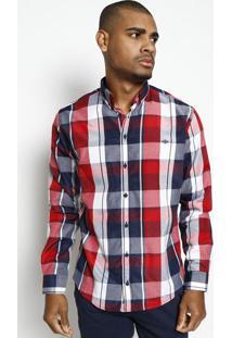 Camisa Xadrez Com Bordado - Azul Marinho & Vermelhatriton