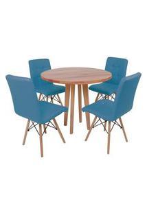 Conjunto Mesa De Jantar Em Madeira 90Cm Com Base Vértice + 4 Cadeiras Gomos - Turquesa