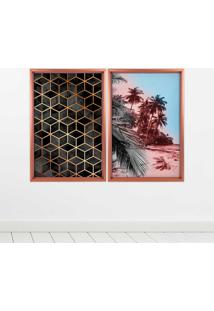 Quadro Love Decor Com Moldura Chanfrada Praia Com Abstrato Rose Metalizado Grande